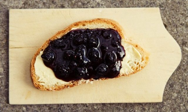 Close up of blueberry jam on bread