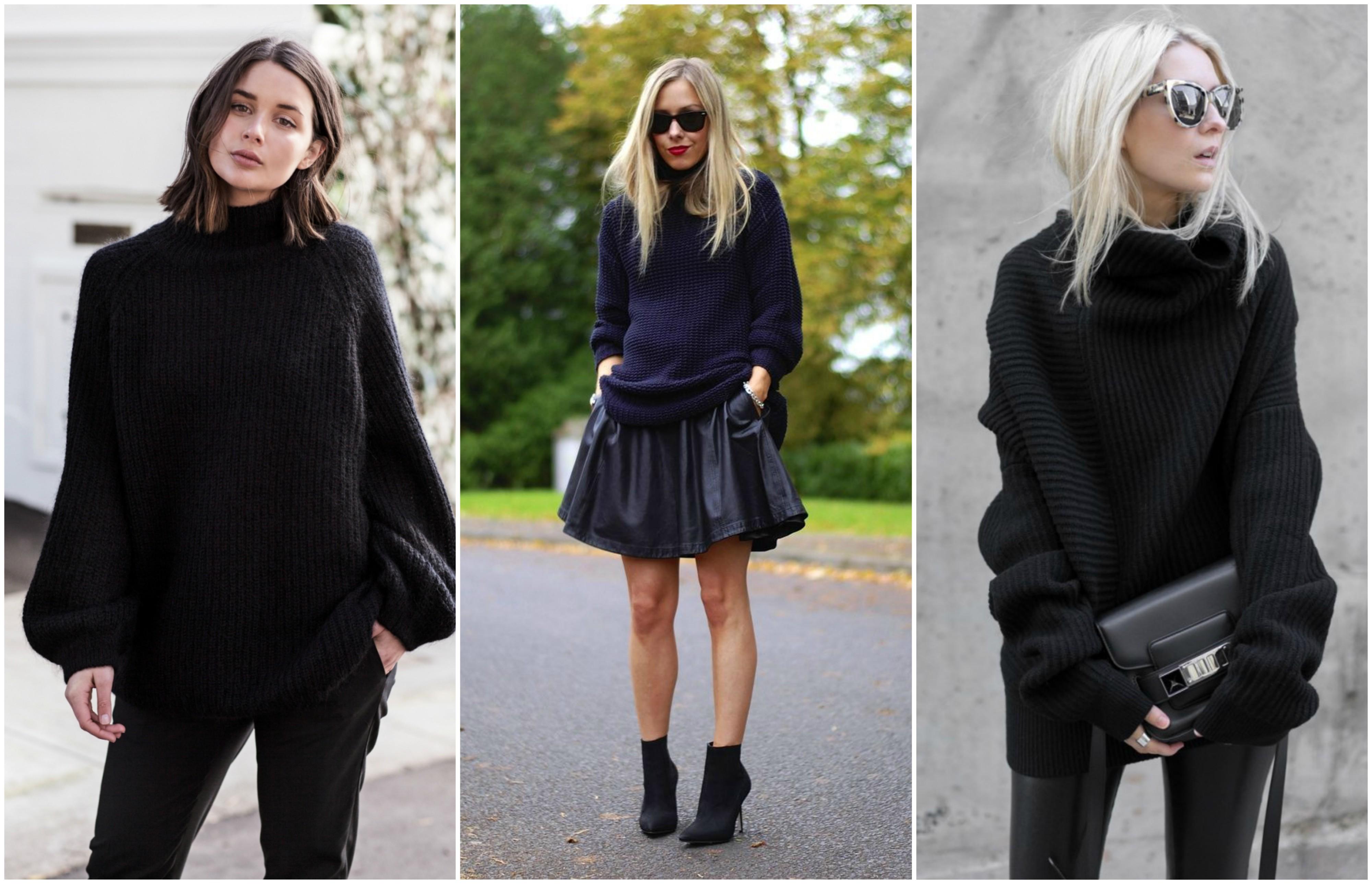 f6de3cfbd29b Ένα από τα αγαπημένα winter items είναι το oversized μαύρο πουλόβερ που  κάθε χρόνο γίνεται και πιο φαρδύ και πιο μακρύ. To αγαπάς